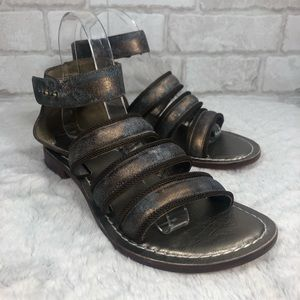 Gladiators Style Bronze Metallic Leather Sandals